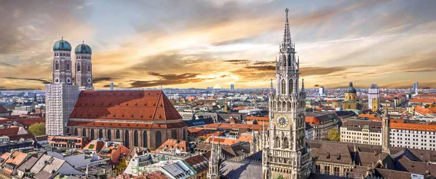 Panorama von München, der Stadt in der sich die Kanzlei Strafverteidgerbüro befindet.